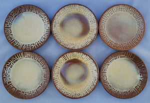 "Vintage Frankoma ""Mayan Aztec Desert Gold"" Bread and Butter B&b Plates - Set of 6"