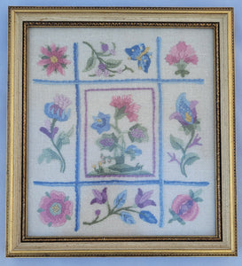 Vintage Rose Floral Chintz Chain Stitch Needlepoint Fiber Art Wall Hanging