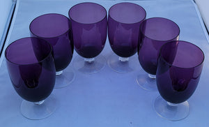 "Vintage Fostoria ""Classic Amethyst"" Purple Iced Tea Goblets - Set of 6"