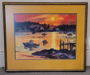 Mid-Century Modern Carver's Harbor, Maine Watercolor Painting by K. Forbes