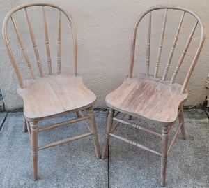 Antique Vintage Early 20th Century Whitewashed Country Cottage Windsor Chairs - a Pair