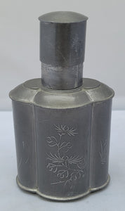 Vintage Antique Pewter Chinese Tea Caddy