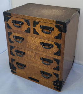 SOLD - Vintage Tansu Style Japanese Jewelry Box Chest of Drawers