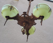 Load image into Gallery viewer, SOLD - Vintage 1930s Art Deco 3-Arm Slip Shade Gill Glass Chandelier