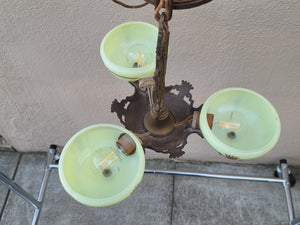SOLD - Vintage 1930s Art Deco 3-Arm Slip Shade Gill Glass Chandelier