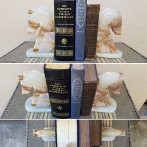 Vintage Stone Marble Onyx Agate Granite Horse Head Bookends