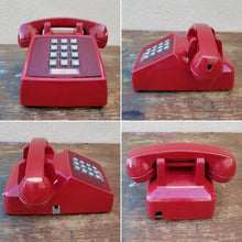 Load image into Gallery viewer, Vintage Burgundy Red Push Botton Desk Table Top Telephone Landline