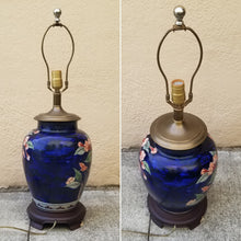 Load image into Gallery viewer, Vintage Chinoiserie Navy Blue Asian Ginger Jar Pink Floral Porcelain Lamp