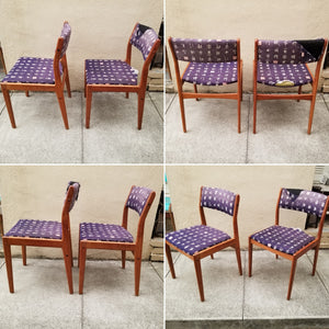 Vintage Danish Modern Style Set of 6 Teak D-Scan Upholstered Dining Chairs