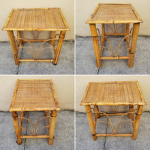 Load image into Gallery viewer, Vintage Rattan Topped Bamboo Boho Chic Side Table