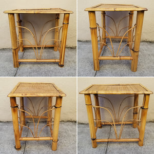 Vintage Rattan Topped Bamboo Boho Chic Side Table
