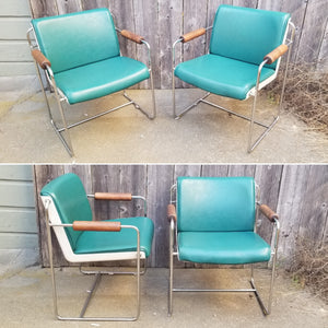 Vintage Mid-Century Postmodern Plastic, Wood, Naugahyde, and Chrome Armchairs - a Pair