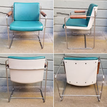 Load image into Gallery viewer, Vintage Mid-Century Postmodern Plastic, Wood, Naugahyde, and Chrome Armchairs - a Pair