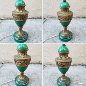 Vintage Petite Emerald Green Ceramic Urn Shaped Neoclassical Lamp