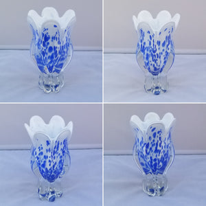 Vintage Blue and White Royal Gallery of Poland Hand Blown Glass Bowl and Vase - a Pair