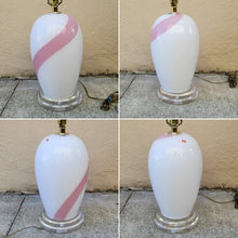 Load image into Gallery viewer, Vintage Pink Striped White Murano Glass Table Lamp