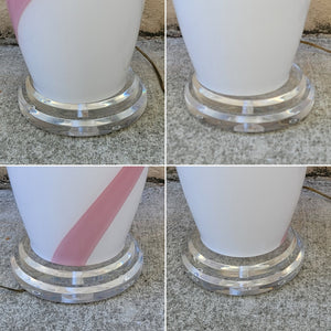 Vintage Pink Striped White Murano Glass Table Lamp