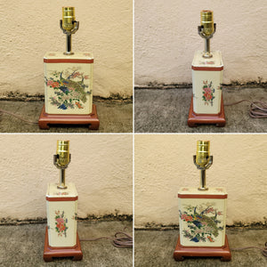 Vintage Petite Porcelain Japanese Chinoiserie Ceramic Peacock Table Lamp