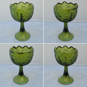 Vintage Olive Avocado Green Indiana Glass Duette Pattern Decorative Goblet