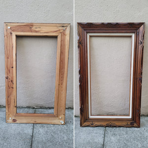 Vintage Dark Brown Wood Arts and Crafts Picture Frame