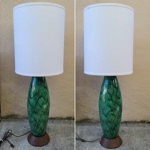 Mid-Century Modern Emerald Green Ceramic Table Lamp