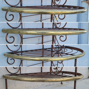 French Style Demilune Bakers Rack in Faux Iron Finish with Brass Plated Accents