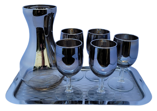 Vintage Dorothy Thorpe Style Silver Fade Apertif Dessert Wine Goblets, Carafe, and Tray Set