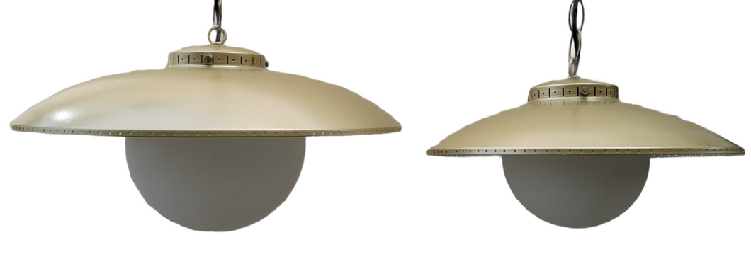 Vintage Mid-Century Modern Atomic Ufo Gold Light Fixtures - a Pair