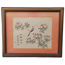 Load image into Gallery viewer, Vintage Asian Bird in a Flowering Tree Painting on Silk