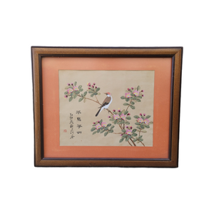Vintage Asian Bird in a Flowering Tree Painting on Silk