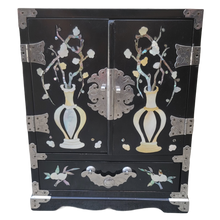 Load image into Gallery viewer, Chinoiserie Black Lacquer and Mother of Pearl Jewelry Box