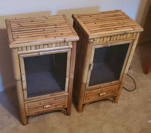 Vintage Bamboo Boho Chic Side Table Cabinets - a Pair