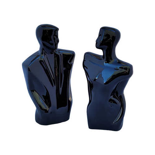 Vintage 80s Balkweill-Style Postmodern Black Ceramic Abstract Man and Woman Statues - a Pair