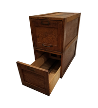 Load image into Gallery viewer, Vintage Wood File Cabinet Pair of Stacking File Drawers