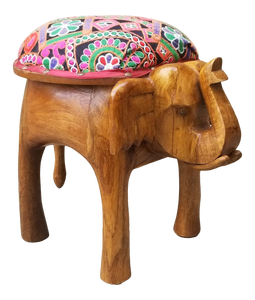Petite Boho Chic Hand Carved Elephant Ottoman Upholstered Stool