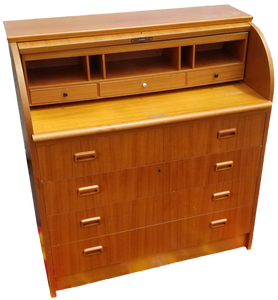 Vintage Danish Modern Roll Top Secretary Desk