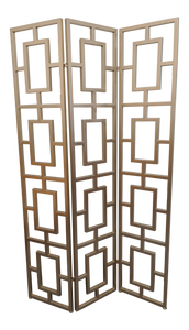 Metal Pale Gold Chinoiserie Trifold Room Divider Screen
