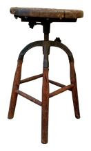 Load image into Gallery viewer, Primitive Antique Vintage Industrial Wood and Cast Iron Stool