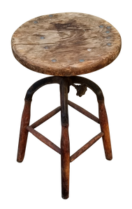 Primitive Antique Vintage Industrial Wood and Cast Iron Stool