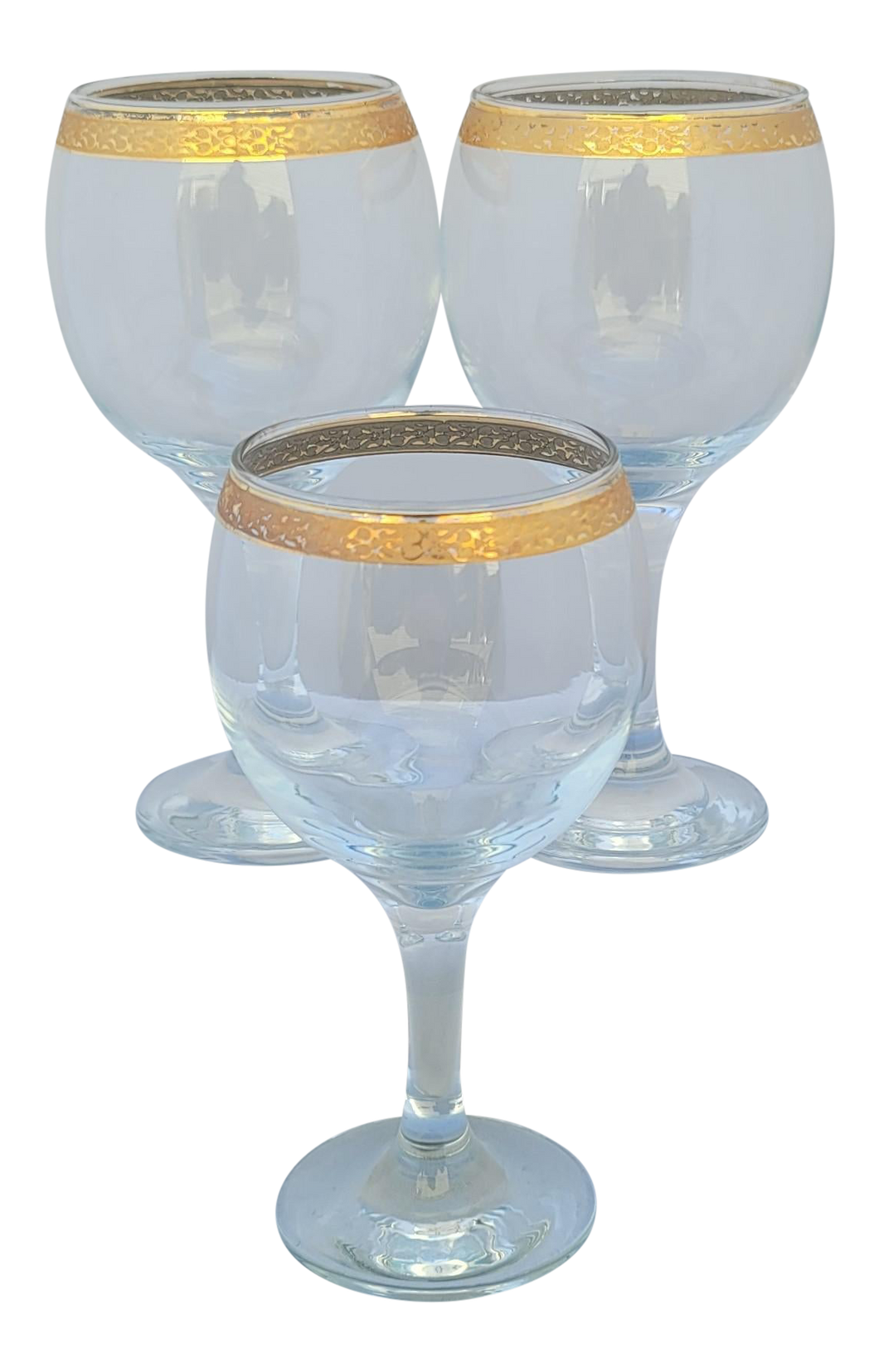 Vintage 1950s Circleware Crystal Classique Gold Rimmed Wine Goblets - Set of 3