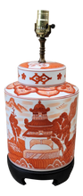 Load image into Gallery viewer, Vintage Chinoiserie Canton Red Orange White Lamp