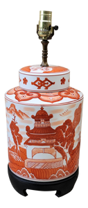 Vintage Chinoiserie Canton Red Orange White Lamp