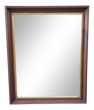 Load image into Gallery viewer, Vintage Dark Brown Stained Hanging Wall Mirror With Gold Trim