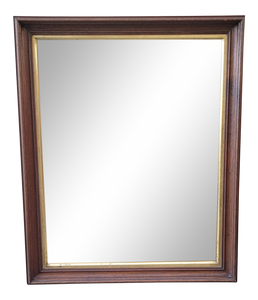 Vintage Dark Brown Stained Hanging Wall Mirror With Gold Trim