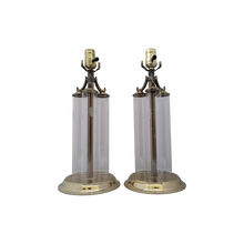 Load image into Gallery viewer, Vintage Triple Column Glass and Brass Princess House Buffet Lamps - a Pair