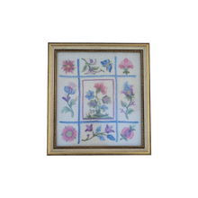 Load image into Gallery viewer, Vintage Rose Floral Chintz Chain Stitch Needlepoint Fiber Art Wall Hanging