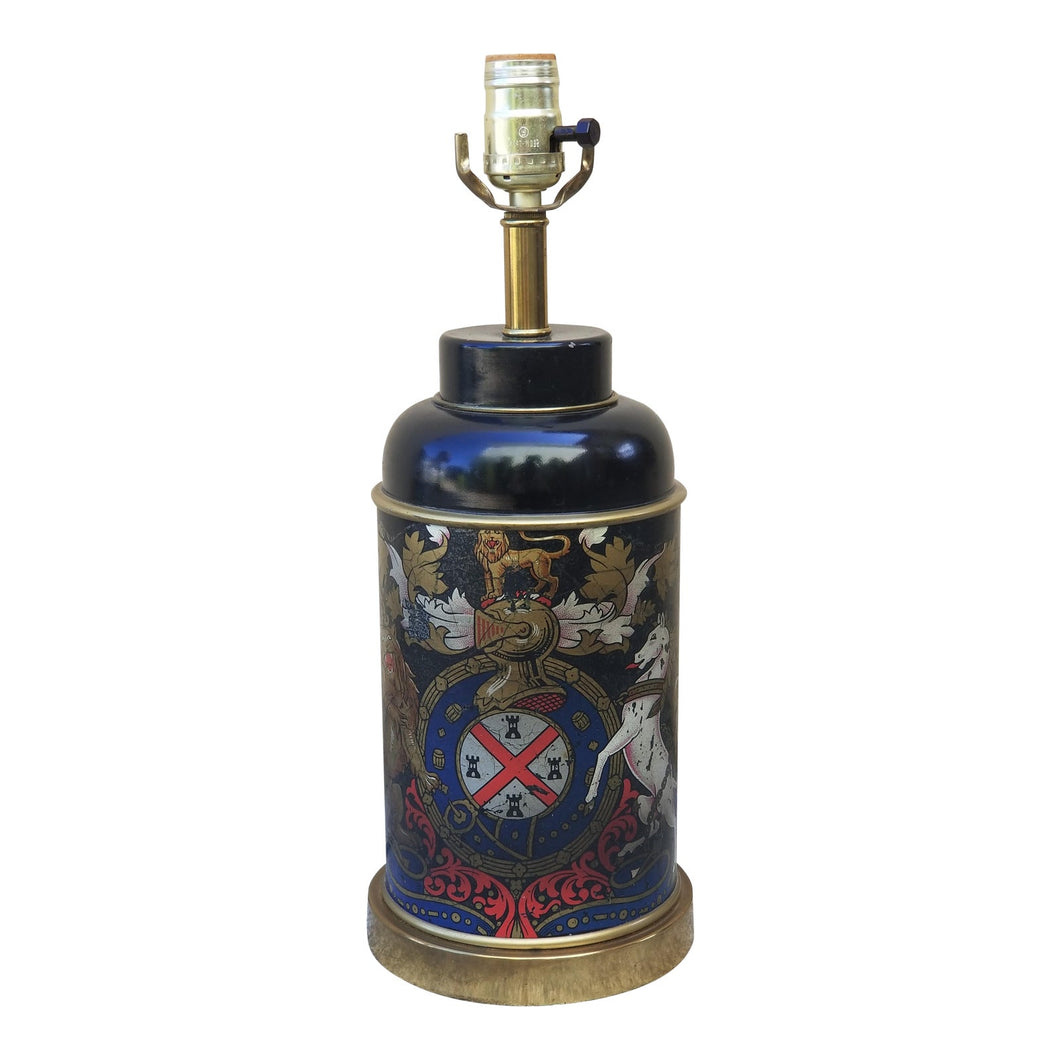 Vintage Weathered Family Crest Tea Tin Table Lamp