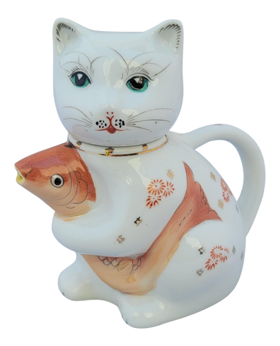 Vintage Chinese Porcelain Cat With a Koi Fish Creamer Pitcher