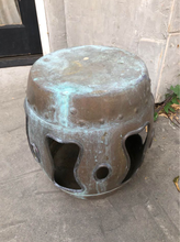Load image into Gallery viewer, Vintage Chinese Export Heavily Patinated Barrel Style Metal Garden Stool