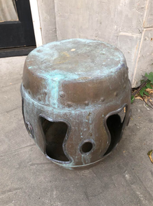 Vintage Chinese Export Heavily Patinated Barrel Style Metal Garden Stool